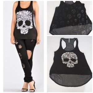 Aran's Den Droptail Tank Top Skulls Black Medium